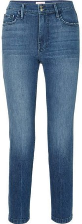Heritage Sylvie Cropped Distressed High-rise Straight-leg Jeans - Mid denim
