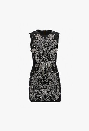 Short Black And Silver Silk Embroidered Dress for Women - Balmain.com
