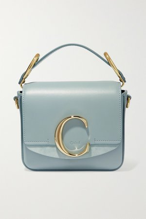 Blue Chloé C mini suede-trimmed leather shoulder bag | Chloé | NET-A-PORTER