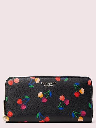 spencer cherries zip-around continental wallet | Kate Spade New York