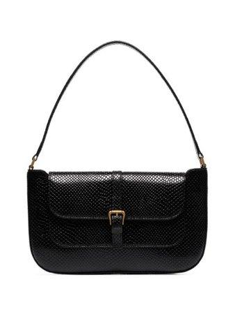 Black BY FAR Miranda snake-effect leather shoulder bag 20PFMDASBLRMED - Farfetch