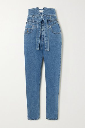 Blue Belted high-rise straight-leg jeans | The Attico | NET-A-PORTER