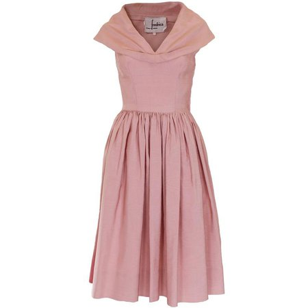 1950s Dusty Pink Prom Style Vintage Dress For Sale at 1stdibs