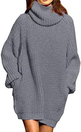 Pink Queen Women's Loose Turtleneck Oversize Long Pullover Sweater Dress Gray XL at Amazon Women's Clothing store