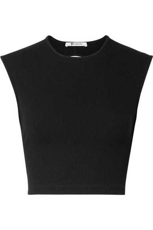 T by Alexander Wang | Cropped cutout ribbed-knit top | NET-A-PORTER.COM