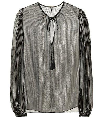 Metallic silk blouse