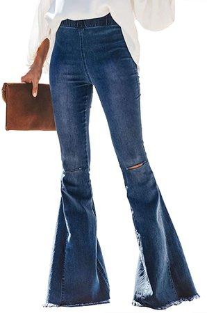 Sidefeel Women Destoryed Flare Jeans Elastic Waist Bell Bottom Tassel Denim Pants Large Sky Blue at Amazon Women's Jeans store