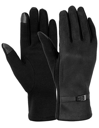 Women Winter Gloves Touch Screen Gloves for Phone Warm Thick Fleece Mittens Black (black) at Amazon Women's Clothing store: