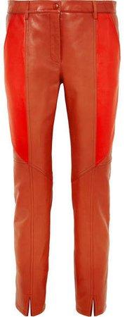 Leather Skinny Pants - Brick