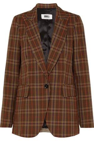 MM6 Maison Margiela | Paneled checked jacquard blazer | NET-A-PORTER.COM