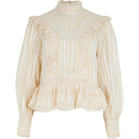 Cream long sleeve lace frill blouse top | River Island