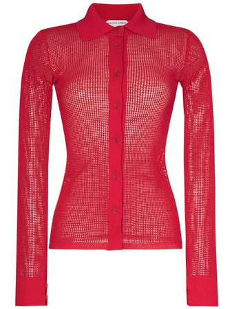 Shop red Bottega Veneta mesh long-sleeve shirt with Express Delivery - Farfetch