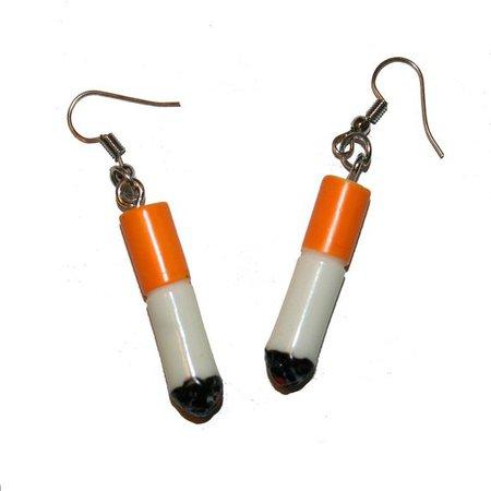 Mini Cig Earrings Kitschy mini cigarette earrings smoker | Etsy