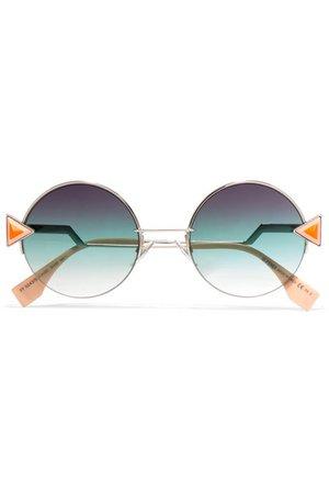 Fendi | Stud-embellished palladium-tone and acetate round sunglasses | NET-A-PORTER.COM