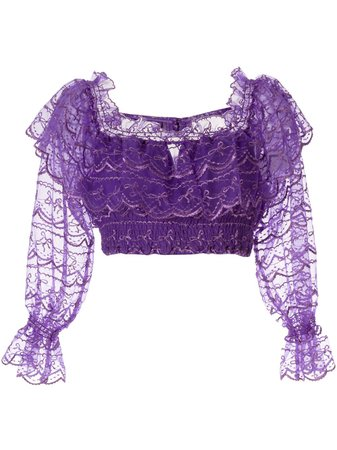 Alice Mccall Satellite Of Love Cropped Lace Top In Purple | ModeSens