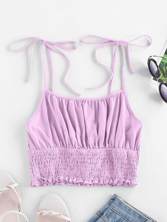 [34% OFF] [HOT] 2020 ZAFUL Tie Strap Ruched Smocked Cami Top In MAUVE | ZAFUL