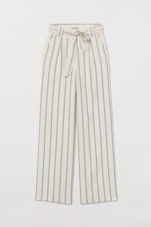 Wide-cut Tie-belt Pants - Beige