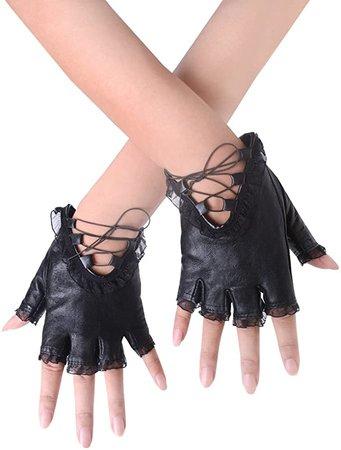 JISEN Women Punk Rivets Belt Up Half Finger PU Leather Performance Gloves Black at Amazon Women's Clothing store
