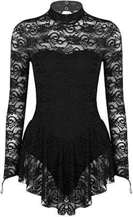 Amazon.com: ACSUSS Women's Turtle Neck Lace Figure Ice Skating Roller Skating Ballet Dance Leotard Dress Costume Black X-Small: Clothing