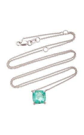 14K White Gold and Emerald Necklace by Maria Jose Jewelry | Moda Operandi