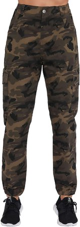 ZODLLS Women's Camo Pants Cargo Trousers Cool Camouflage Pants Stretchy Waist Casual Multi Outdoor Jogger Loose Pants with Pocket(Light Green, X-Large) at Amazon Women's Clothing store