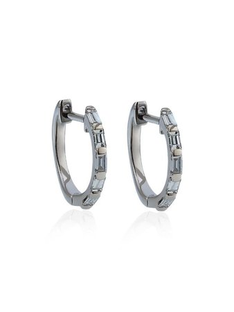 SHAY White Gold Mini Baguette Diamond Earrings - Farfetch