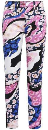 Paneled Embroidered Printed High-rise Skinny Jeans