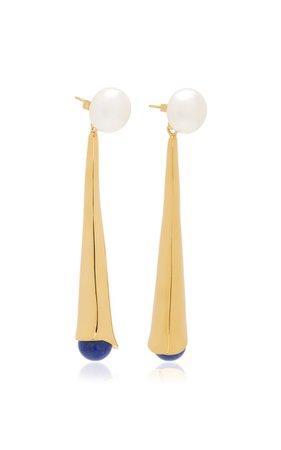 Lou Lou 18k Gold Vermeil Pearl, Lapis Earrings By Sophie Buhai | Moda Operandi