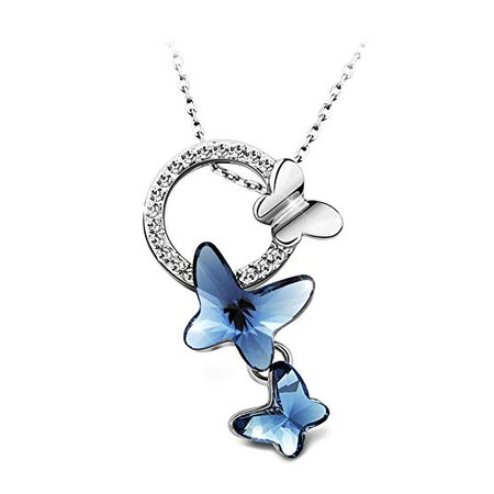Amazon.com: T400 Blue Purple Pink Butterfly Pendant Necklace Made with Swarovski Elements Crystal ♥ Birthday Gift for Girls Women: Jewelry