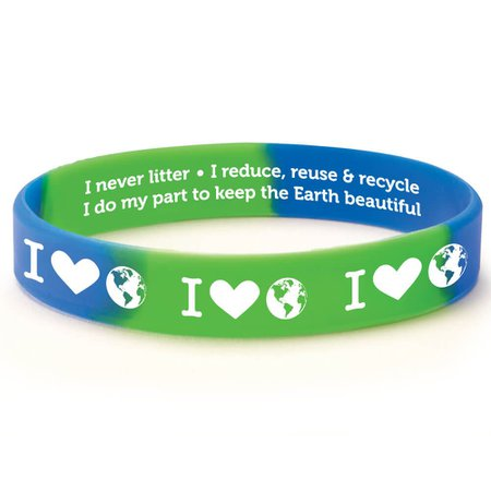 I (Heart) The Earth 2-Sided Silicone Bracelets - Pack of 10 | Positive Promotions