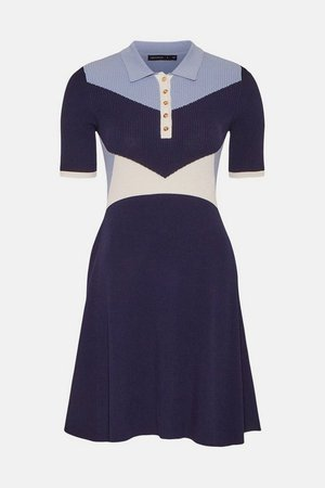 Knitted Rib Collared Skater Dress | Karen Millen