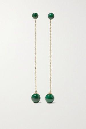Gold Convertible 14-karat gold malachite earrings | Mateo | NET-A-PORTER