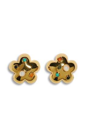 Gold-Plated Daisy Stud Earrings by Lizzie Fortunato   Moda Operandi