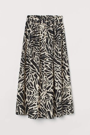 Linen-blend Skirt - Beige