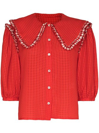 Shop red Shrimps spread collar blouse with Express Delivery - Farfetch