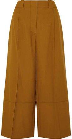 Cropped Wool Wide-leg Pants - Brown