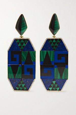 Blue 18-karat gold multi-stone earrings | Casa Castro | NET-A-PORTER