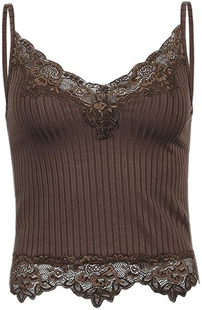 Lace Patchwork Brown Crop Top Y2k Clothes Fairy Grunge Style Cropped Tees Cami Ribbed Knitted Tank Tops-Brown-S at Amazon Women's Clothing store