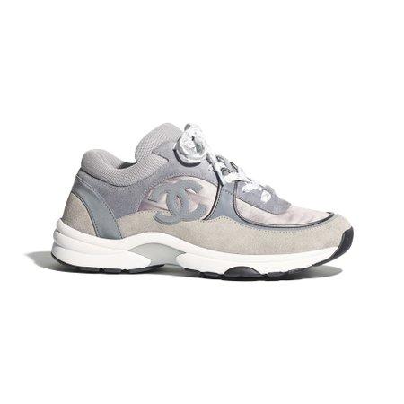 Fabric & Suede Calfskin Dark Gray & Gray Sneakers   CHANEL