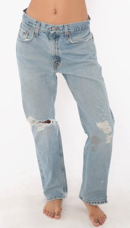 Ripped Levis Mom Jeans 30 -- Levi 505 High Waist Jeans 90s Jeans Blue Jeans DISTRESSED 80s Denim Pants Vintage Grunge Medium 8