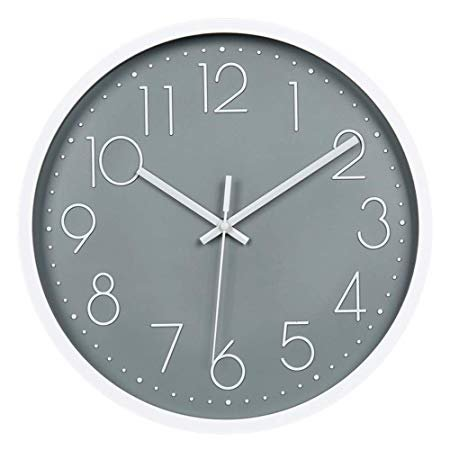 Amazon.com: JUSTUP 12in Non-Ticking Wall Clock, Silent Battery Operated Wall Clock with ABS Frame HD Glass Cover for Kids Living Room Bedroom Kitchen School Office Decor (Gray): Home & Kitchen