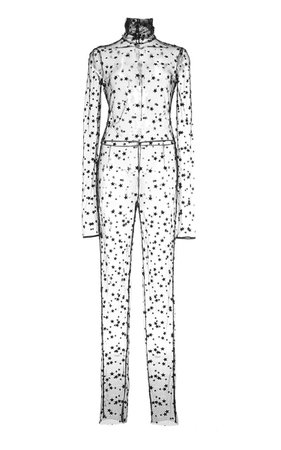 Monique Lhuillier Embroidered Star Tulle Jumpsuit