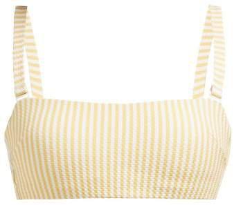 Asceno - Striped Technical Seersucker Bikini Top - Womens - Yellow