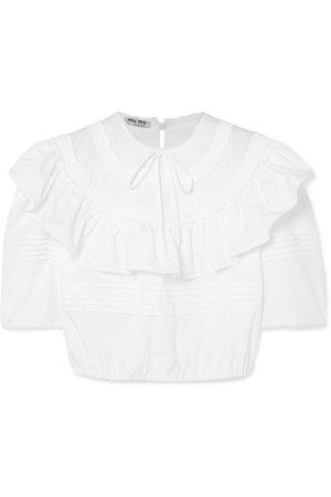 Miu Miu   Cropped ruffled cotton-poplin blouse   NET-A-PORTER.COM