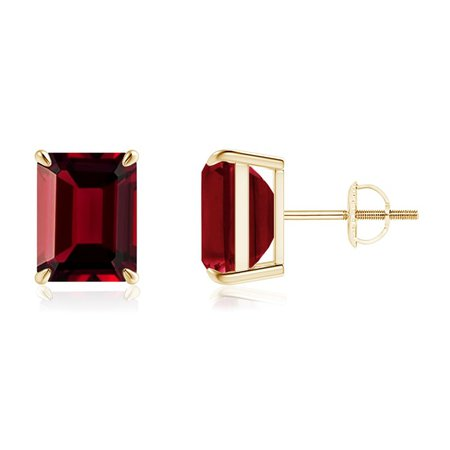 Claw-Set Emerald-Cut Garnet Solitaire Stud Earrings   Angara UK