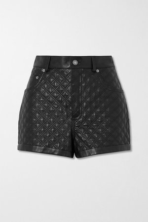 Quilted Padded Leather Shorts - Black