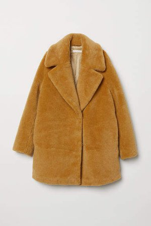 Short Faux Fur Coat - Yellow