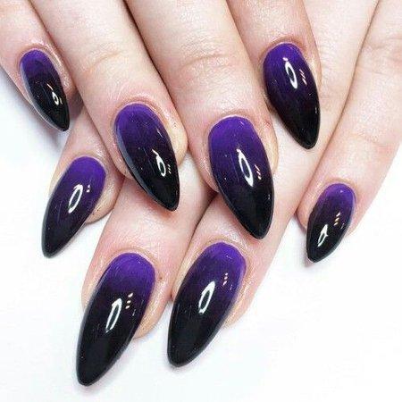 Black & Purple Ombre Stiletto Nails