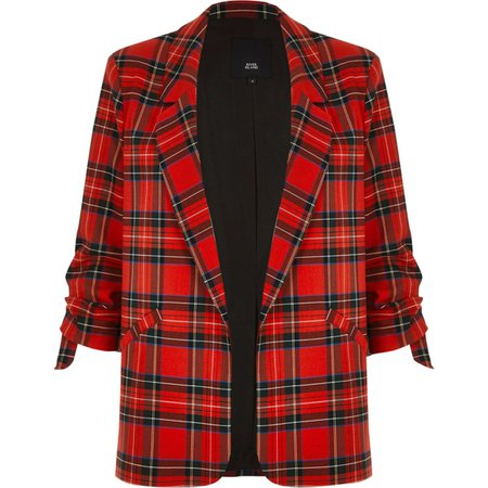 Red plaid print ruched sleeve blazer - Blazers - Coats & Jackets - women
