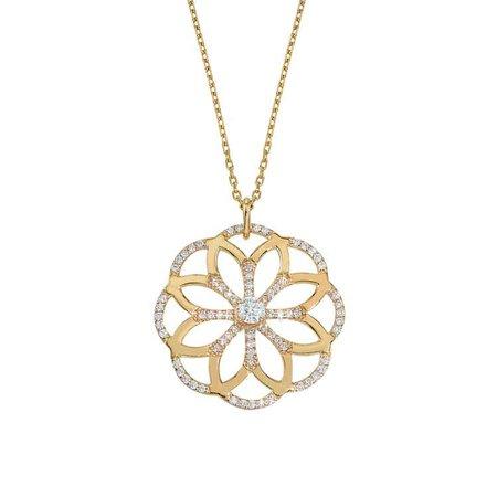 Sophia Flower Pendant Yellow Gold - GiGi Ferranti Jewelry